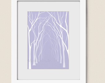 Forest Tree Wall Art Print 5 x 7, Lavendar Home Decor, Living Room Bathroom Wall Decor (112)