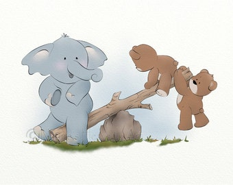 11 x 14 Cute Elephant Childrens Wall Art, Boys Nursery Print, Teddy Bear Kids Room Artwork (123)