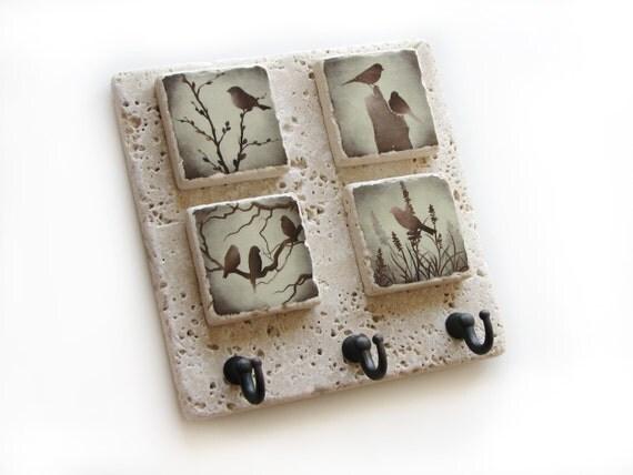 decorative tile key rack bird wall decor key hook wall key. Black Bedroom Furniture Sets. Home Design Ideas