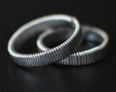 Hammered Flat Bass Guitar String Ring, Wedding Band Style, Silver Color, Nearly Any Size