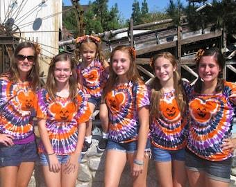 HALLOWEEN Tie dye T shirts -Funky,spiral,mouse, bear, Jack O lantern