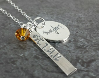 Hand Stamped Personalized Necklace - Rectangle Tag with Round Disc - Personalized Sterling Silver Jewelry