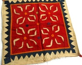 Folk art textile in applique, antique embroidery, vintage wall hanging # 40