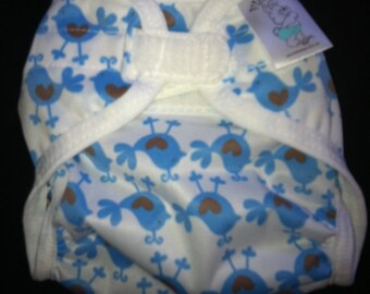 Sale Blue Chicks Polyester PUL Cloth Diaper Cover With Aplix Hook & Loop Or Snaps Pick Size XS/Newborn, Small, Medium, Large, or One Size