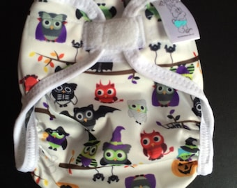 Halloween Owls Polyester PUL Cloth Diaper Cover With Aplix Hook & Loop Or Snaps You Pick Size XS/Newborn, Small, Medium, Large, or One Size