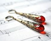Red Dangle Earrings Vintage Style Earrings Antiqued Brass Filigree Long Dangle Earrings Leverback Victorian