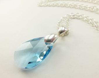 Aquamarine Teardrop Necklace Aqua Raindrop Necklace March Birthstone Aqua Blue Crystal Sterling Silver