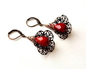 Opaque Red Flower Earrings Antiqued Copper Filigree Earrings Lacy Earrings