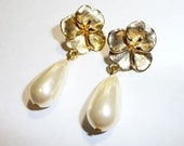 Glamorous Faux Pearl Floral Drop Earrings on Etsy
