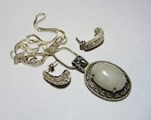 Sterling Silver and Moonstone Pendant and Earrings Set on Etsy