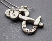Hand Stamped Pewter Ampersand Necklace with Initials and Crystal, Couples, Marriage, Anniversary, Love, Date