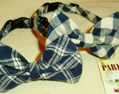 Blue and WhitePlaid Bow Tie Collar For Cats or Small Dogs