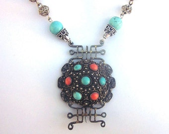 Sterling Silver Filigree Assemblage Necklace Turquoise Coral Filigree Jewelry 925 Silver