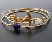 Nautical Bracelets, Stacking Bangles Set, Stackable Bracelets, Nautical Jewelry, Gold Anchor Bracelet, Blue, White, Sailor Ahoy Bangle Stack