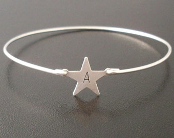 Sterling Silver Initial Bracelet, Personalized Star, Sterling Silver Initial Jewelry, Sterling Monogram Bracelet, Custom Sterling Bracelet