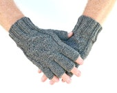 Men's fingerless gloves gray grey Town Christmas Valentines Day Fathers Day gift for him