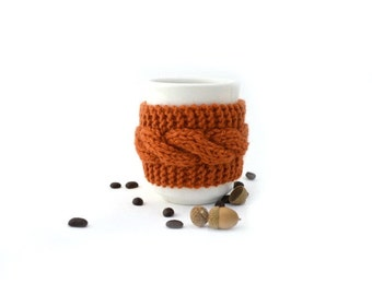 Reusable cup cozy hand knit mug cozy caramel brown button cable knit gift for friend Thanksgiving Christmas gift under 15 stocking stuffer