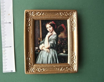 PICTURE 'Lady with reflection' hand finished PORTRAIT  'oil painting effect'  Dolls House Miniature 12th scale