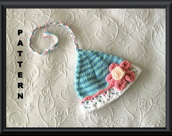 Knitted Hat Pattern Baby Hat Pattern Newborn Hat Pattern Infant Hat Pattern Christmas Hat Pattern Elf Hat Pattern: PIXIE FLOWER HAT