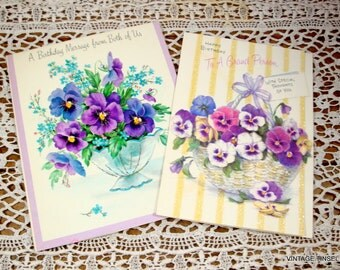 2 Vintage Happy Birthday Greeting Cards, Purple  Pansies, Glitter, Flowers, Floral, Spring  (94-14)