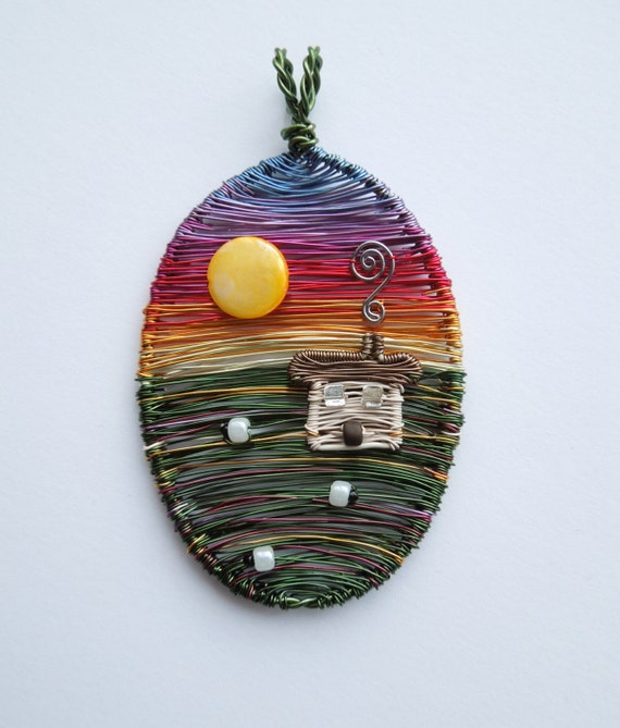 Moorland Sunset one of a kind designer wire pendant