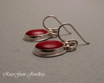 Red Coral Earrings, Cabochon Earrings, Sterling Silver, Handmade by RiverGum Jewellery