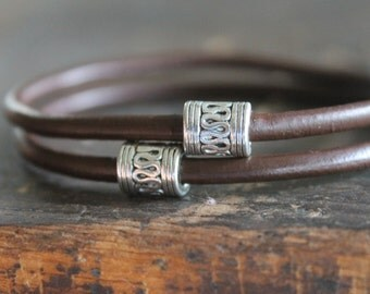 Apia Dark Espresso Brown Leather Stacking Bangle Bracelets with Thai Silver Snake Beads - For Men or Women