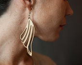 Laser cut winged wood earrings, woodland, feather