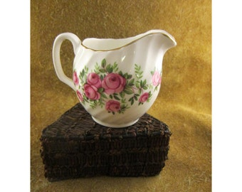 Small Pink Roses Creamer by Mayfair – Made in England – Vintage Bone China