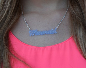 Clear Blue Kitsch Mermaid Necklace.
