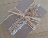 Boxed lace, pearl, and starfish Wedding Invitation