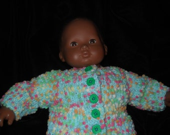 American Girl Bitty Baby Handknitted Doll Sweater in Teal Green With lovely Dippity Dots all over and  Yellow flowered buttons