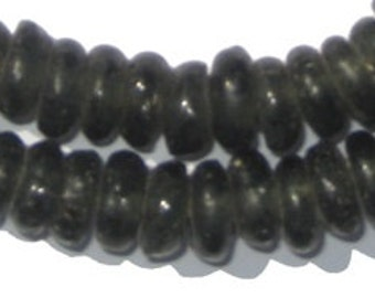 100 Black Rondelle Recycled Glass Beads - Black African Beads - Made in Ghana ** (RCY-DISK-BLK-535)