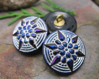 1  Metallic Rainbow Starflower Flower Czech Glass Button 18mm