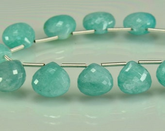 Amazonite  Faceted Briolettes AAA Amazonite Heart Briolette Gemstone Beads 8-11mm