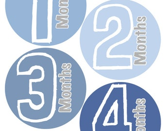 Baby Month Stickers Baby Boy Monthly Stickers Blue and Grey First Year Month Stickers Baby Shower Gift and Photo Prop Joshua-T