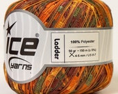 ladder ribbon trellis yarn green brown orange yellow 50gr 1 skein novelty ice yarns ships at usps cost chunky bulky 22109