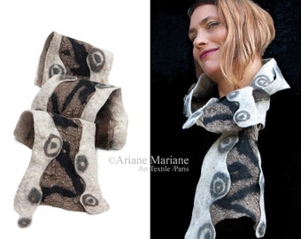 Nuno felt scarf,  bark textured, nature colors beige brown gold shawl, one of a kind art accessories, woodland elegant