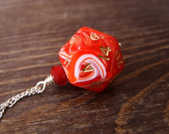 D20 dice dungeons and dragons pendant dice red white swirls pendant D20 pendant dice jewelry dice necklace