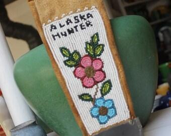 Native American Beadwork Alaska Hunter Knife Sheath Eskimo Athabascon Beading Beaded VINTAGE by Plantdreaming