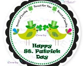 Tweet of Lucky - Happy St. Patrick Day - Personalized Stickers or Labels for your Favors -Choose Size-