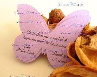 """45 Personalized Butterflies Tags Size 2.50"""" -Custom Butterflies Labels -Printed Butterflies Tags -Custom Paper Butterflies die cuts -"""