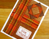 SALE 50% OFF - Give Thanks Handmade Cross Stitch Greetings Card for Thanksgiving Fall Autumn