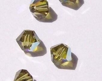 Clearance Sale -- Swarovski crystal beads 4mm BICONE 5301 crystal beads KHAKI AB -- 25 pieces
