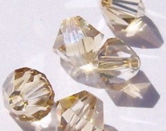 Swarovski crystal beads BICONE 5328 Crystal Beads GOLDEN SHADOW -- Available in 4mm, 5mm and 6mm