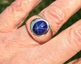Classic Men's  Heavy Weight Oval Blue Star Sapphire  Gypsy Style Sterling Silver Ring