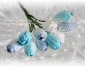 Miniature Shades of Blue Mulberry Tulips Set of 10 for Scrapbooking, Cardmaking, Altered Art, Wedding, Mini Album