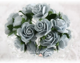 Mulberry Roses~Dusty Blue~ Set of 20 for Scrapbooking, Cardmaking, Altered Art, Wedding, Mini Album