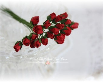 Tiny Rose Buds Red Set of 20 for Scrapbooking, Cardmaking, Altered Art, Wedding, Mini Album