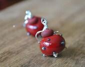 Red Be Mine Earrings, Red Earrings, Lampwork Earrings, Glass Bead Earrings, Dark Red Earrings
